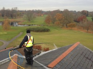 Soft Washing of a roof using AlgoClear: for long lasting moss and lichen clearance -  All roof cleaning Services by Aerial Installations and Services, Belfast, Northern Ireland