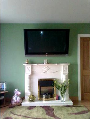 Wall mounted TV in Poleglass home, installed by Aerial Installations and Services, Belfast, Northern Ireland
