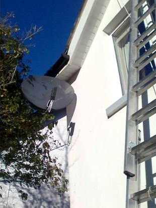 Sky dish with 8 way octo LNB installed by Aerial Installations and Services, Belfast in Hollywood, North Down, Northern Ireland,