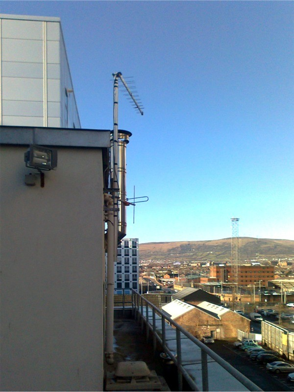 Super log periodic aerial, low wind lad design in Belfast City centre by Aerial Installations and Services, Northern Ireland